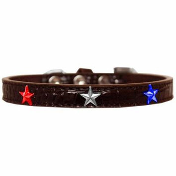 Red, White and Blue Star Widget Croc Dog Collar Chocolate Size 14