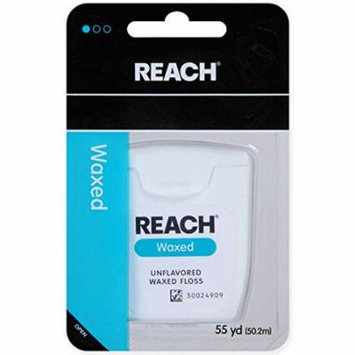 REACH Unflavored Waxed Dental Floss, 55 yds