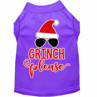 Grinch Please Screen Print Dog Shirt Purple Lg (14)