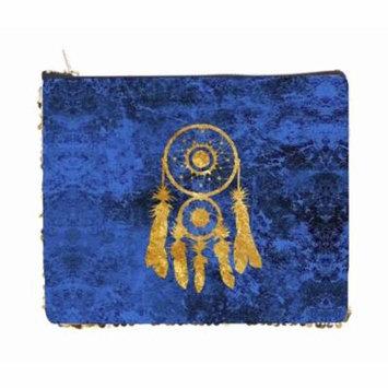 Gold Dreamcatcher on Blue Grunge Print Design - 2 Sided 6.5