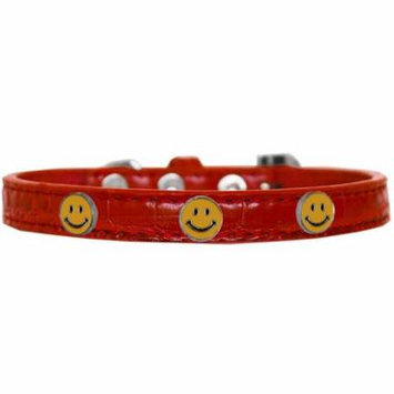 Happy Face Widget Croc Dog Collar Red Size 18