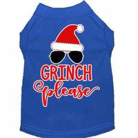 Grinch Please Screen Print Dog Shirt Blue Lg (14)