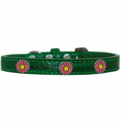 Pink Daisy Widget Croc Dog Collar Emerald Green Size 14