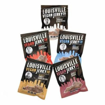 Louisville Vegan Jerky - Sampler Pack (Smoked Black Pepper, Perfect Pepperoni, Smoky Carolina BBQ, Smoked Chipotle, Maple Bacon), 5 x 3.5oz