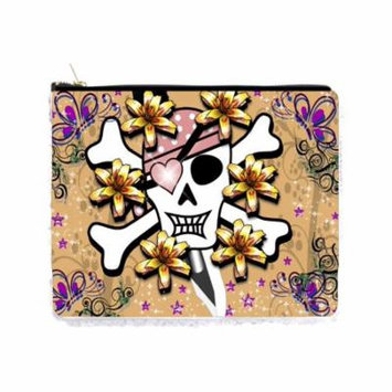 Floral Skull and Crossbones with a Bandana - Double Sided 6.5