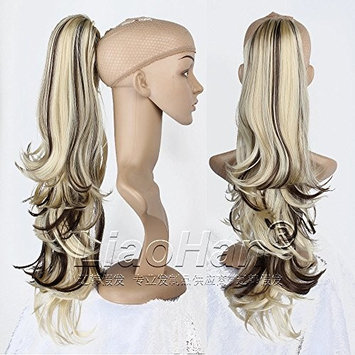 Liaohan Claw on Brown Blonde Ponytail Hair Loose Wavy Ponytail Extensions Synthetic Pony Tail Highlights Hair Tail 24