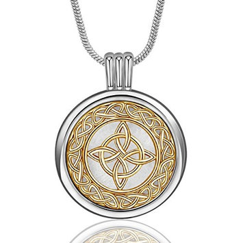 INFUSEU Celtic Knot Cross Eternity Pendant Necklace Aromatherapy Essential Oil Diffuser Locket Jewelry with 12PCS Refill Replacement Pads for Women Gift Set