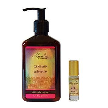 Kuumba Made Fragrance Gift Set, One Zen Rain 1/8oz Fragrance oil with roll on applicator and One Zen Rain Lotion 6oz