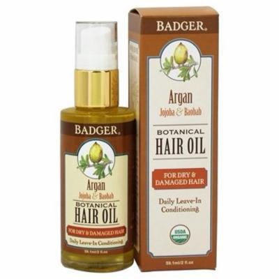 Hair Oil Botanical For Dry & Damaged Hair Argan, Jojoba & Baobab - 2 fl. oz. by Badger (pack of 2)