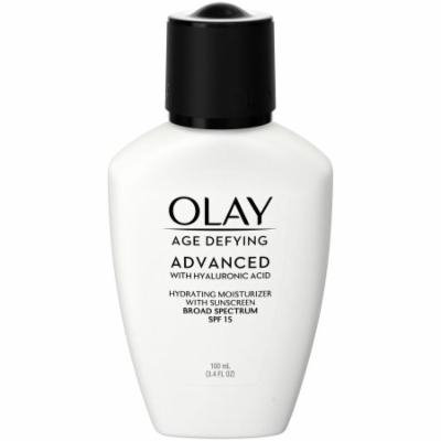 Olay Age Defying ADVANCED with Hyaluronic Acid Hydrating Moisturizer with SPF 15, 100mL (Pack of 10)