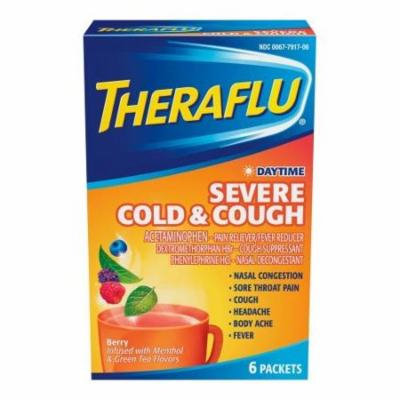 6 Pack Theraflu Daytime Severe Cold & Cough Berry & Green Tea Flavors 6 Ct Each