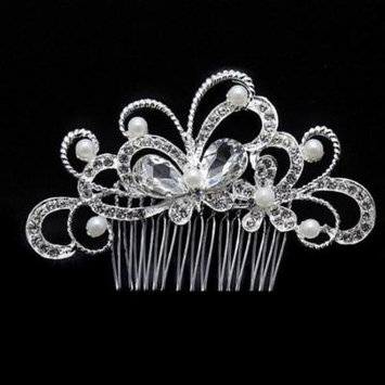 Crystal Butterfly Garden Silver Plated Hair Comb Silver