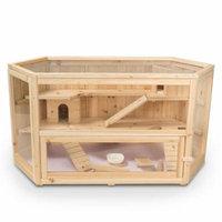 ALEKO Deluxe Fir Wood 3-Tier Hamster Cage - Large