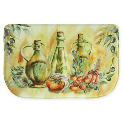 Bacova Olive Oil Bottles 22-Inch x 34-Inch Memory Foam Kitchen Rug