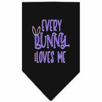 EveryBunny Loves Me Screen Print Bandana Black Small