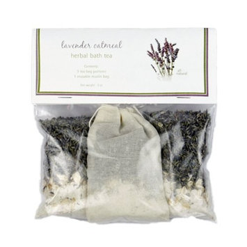 Lavender Oatmeal Bath Tea with Sample Soap - Relaxing, All Natural, Herbal Tub Tea 3-packs to Heal, Soothe, Soak and Recover [Lavender]