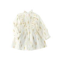 stylesilove Feather Print Little Girls Ruffle Neck Long Sleeve Cotton Blouse (130/5-6 Years, White) [baby_clothing_size: baby_clothing_size-5-6years]