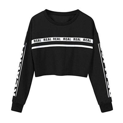 Fheaven Women Fashion White Letter Print Crop Sweatshirt Short Top Blouse Winter