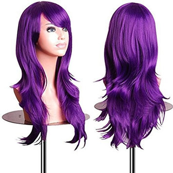 YaRui Long Curly Wave Side Bangs Synthetic Cosplay Party Wigs for Women with Free Wig Cap 28