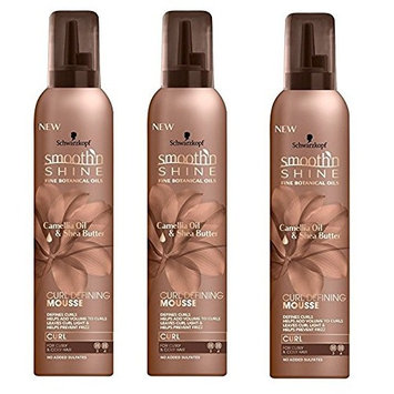 [PACK OF 3] SMOOTH N SHINE CURL DEFINING MOUSSE Camelia Oil Shea Butter 9oz