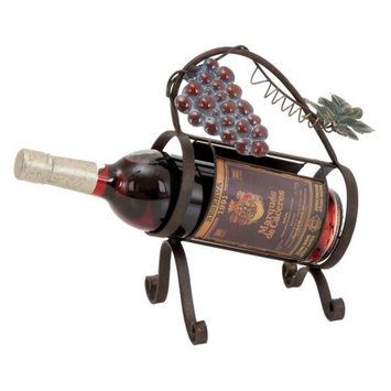 Woodland Import 93729 Unique Mug Styled Metal Wine Caddy in Graceful Curves