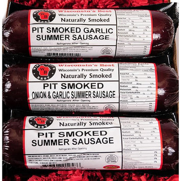 PIT Smoked Summer Sausages Assorted Gift Basket - Perfect for Guys - features Garlic, Original and Onion & Garlic - Man Food, Gourmet Gift perfect for Friends & Family