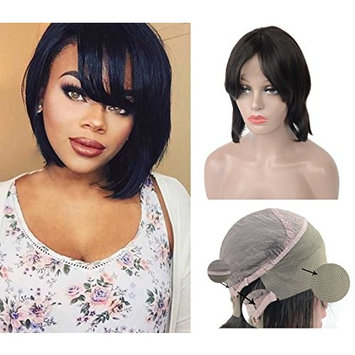Straight Short Bob Lace Front Wigs Human Hair with Bangs for Black Women, LLWear Glueless Half Wigs with Baby Hair Natural Hairline Natural Color 10 Inch