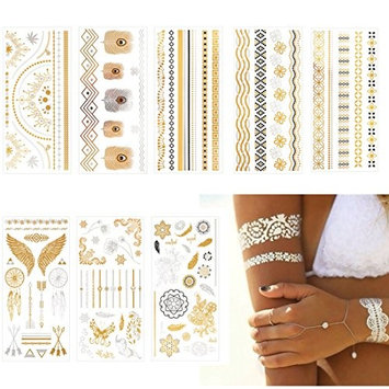 HairPhocas Metallic Temporary Tattoos, Flash Tattoos, 8 Sheets, 150+ Designs Temp Tattoos- Bracelets, Feathers, Wrist and Arm Bands