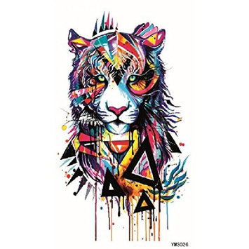 Wonbeauty Fake and real temp tattoo stickers Colorful tiger head temporary tattoos