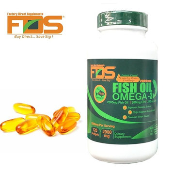 Pure odorless Fish Oil Concentrate-Enteric Coated Burpless-Premium Omega 3 w/ Vitamin E-2000MG 120Softgels-Perfect EPA DHA-Supports Heart Health,Brain Development,Healthy Joints & Overall Wellness