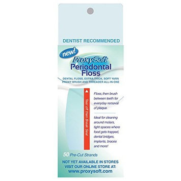 Orthodontic Flossers for Braces with Built-in Dental Floss Threader and Thick Yarn Proxy Brush for Daily Dental Care of Periodontal Disease and Gum Health, Periodontal Floss by ProxySoft (2 Packs)