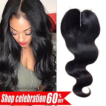 Lace Closure Body Wave Middle Part Closure Brazilian Human Hair Closure 100% Unprocessed Bleached Knots 3.5x4inch (14inch, Natural Color)