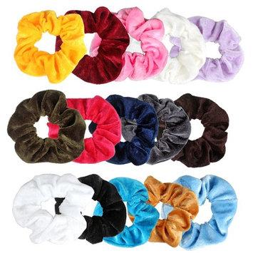 15 Pack Hair Scrunchies Velvet Elastic Scrunchy Colorful Hair Bobbles Hair Bands Ties Ponytail Holder, 15 Colors