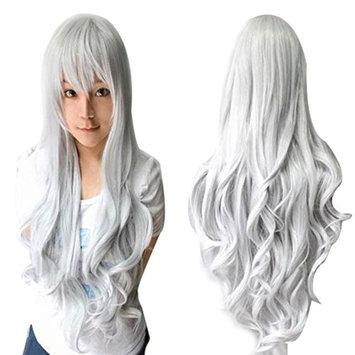 Anogol Vocaloid 80cm Long Wavy Wigs Lolita Silver Cosplay Wig Gray Hair Wigs