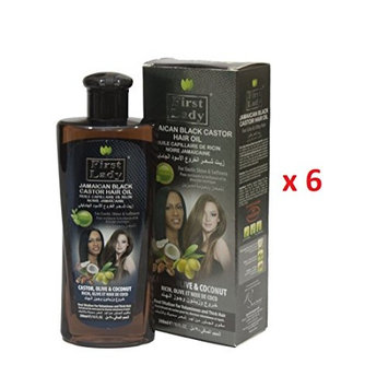 First Lady JAMAICAN BLACK CASTOR Hair Oil 300ml - 10fl oz (6 pack)