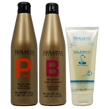 Salerm Protein Shampoo 18oz + Protein Balsam Conditioner 17.3oz + Salerm 21 B5 Silk Protein Leave-in Conditioner 6.9oz