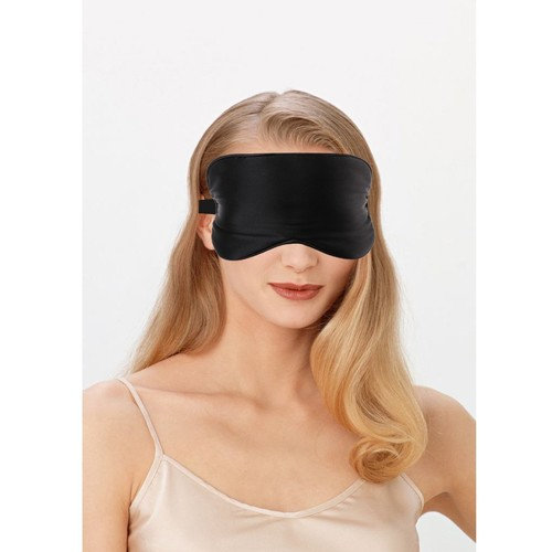 Mulberry Silk Sleep Mask Eye Blind-hood with Adjustable Strap Comfort for Travelling Meditation Naps Night Shift Light Sleeper Black One Size