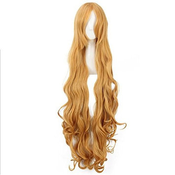 Charming Women Long Curly Heat Resistant Synthetic Hair Wigs For Cosplay Party(Yellow Brown) with Wig Cap