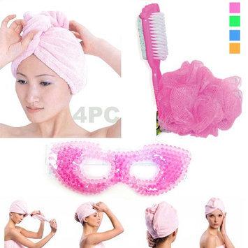 Atb 4Pc Spa Set Eye Mask Body Loofah Foot Pumice Brush Microfiber Hair Wrap Towel!