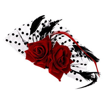 MagiDeal Bridal Fascinator Red Rose Flower Dots Hair Clips Headwear Wedding Supplies