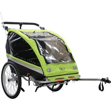 Cycle Source Group, Llc Cycle Force Group C23 Double Child 3-In-1 Bicycle Trailer, Jogger, Stroller, Blue/Green