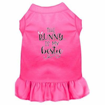 Bunny is my Bestie Screen Print Dog Dress Bright Pink XXL (18)
