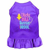 Chicks Rule Screen Print Dog Dress Purple Lg (14)