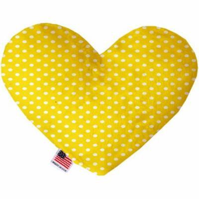 Yellow Polka Dots 6 inch Heart Dog Toy