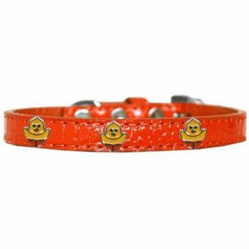 Chickadee Widget Croc Dog Collar Orange Size 14
