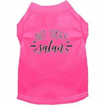 Not Today Satan Screen Print Dog Shirt Bright Pink Sm (10)