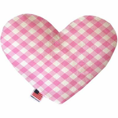 Baby Pink Plaid 6 inch Heart Dog Toy