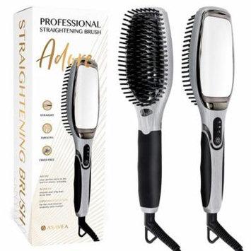 AsaVea 7.0 Ceramic Professional Hair Straightening Brush with Mirror, Black and Grey