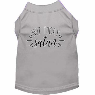 Not Today Satan Screen Print Dog Shirt Grey XS (8)