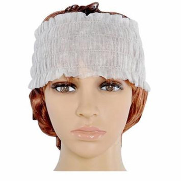 Disposable Spa Headbands Non-woven Headband Elastic Makeup Hair Band, Set of 100, White
